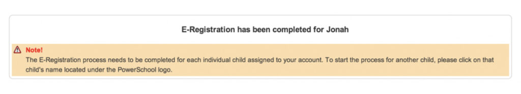 Screen shot to show e-registration is complete.