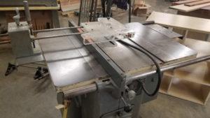 Table saw in school shop classroom