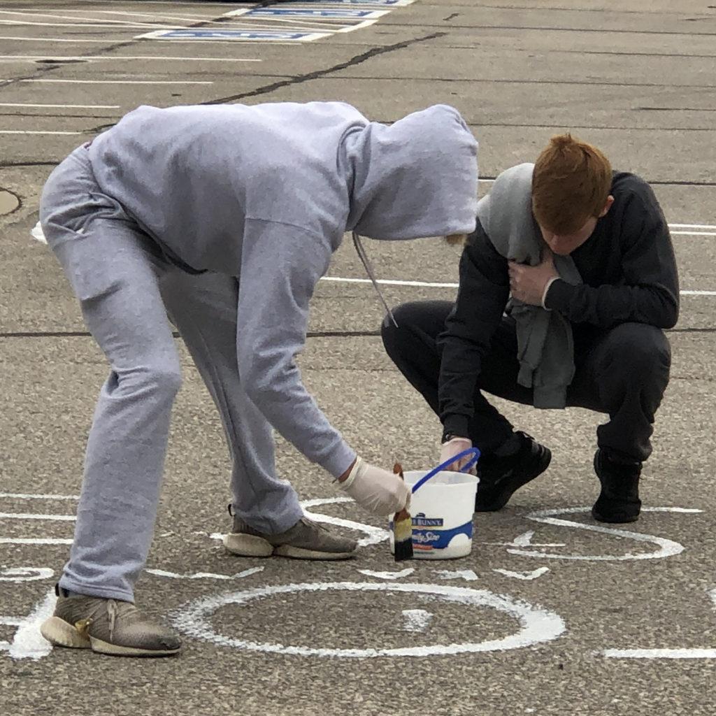 High school seniors paiting